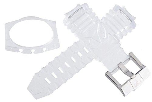 Techno Marine Herren 's Clear Kunststoff Uhrenarmband Edelstahl Schnalle case Set 17mm