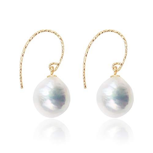 The Vanilla's Orecchini da donna da 10-11mm con perle naturali barocche, orecchini a goccia in oro 14 carati. Il regalo della signora viene fornito con portagioie(bianca)