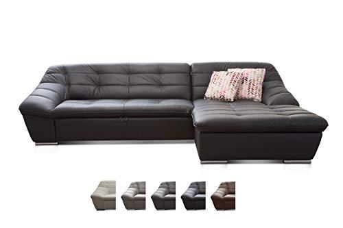 Cavadore Ecksofa Lucas / Kunstleder-Couch mit Steppung und Schlaffunktion / Longchair rechts / 287 x 81 x 165 (BxHxT) / Kunstleder schwarz