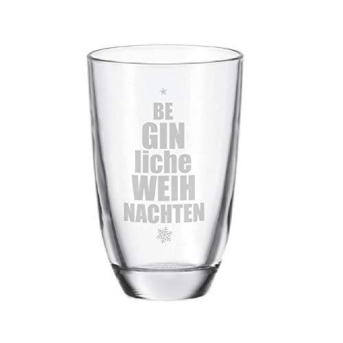 4you Design Gin-Glas beGINliche Weihnachten - lustige Geschenkidee Gin Tonic - Geburtstagsgeschenk - Männergeschenk - Geschenk für Frauen