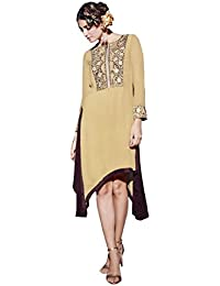 Lords Beige Geprgette Semi Stitched Embroidery With Embroidery Kurti