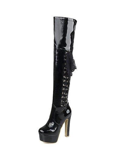 xzz/Damen Schuhe Patent Leder Chunky Absatz Fashion Stiefel Stiefel party & Abend/Kleid/Casual Schwarz/Rot/Weiß, white-us8 / eu39 / uk6 / cn39