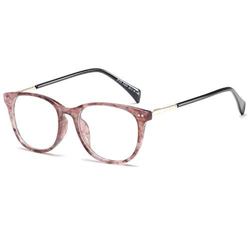 LANOMI Retro Nerdbrille Brillenfassung Hornbrille Runde Brille Ohne Stärke mit Brillenetui (Lila)
