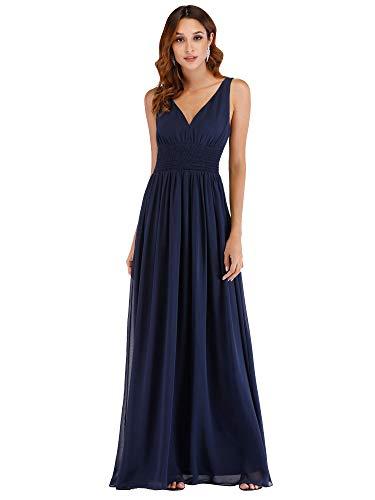 Ever Pretty Damen Elegante Empire Waist V-Ausschnitt A Line Lange Chiffon Formal Abend Brautjungfernkleider Marineblau 48