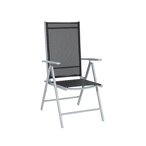 greemotion Klappsessel Prag silber/schwarz, Sitzmöglichkeit für In- und Outdoor, 7-fach...