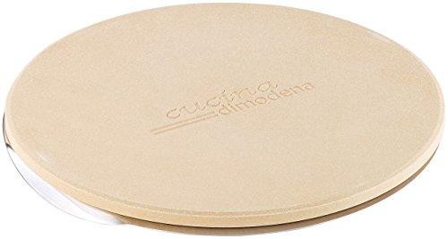 Cucina di Modena Grillstein: Runder Pizzastein mit Aluminium-Servierblech, Ø 26 cm (Pizzastein Grill)