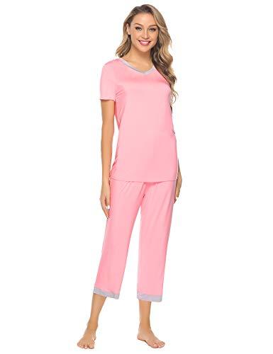 Hawiton Damen Schlafanzug Pyjama Set Kurz Zweiteilige Nachtwäsche Nachthemd Hausanzug Kurzarm V Ausschnitt für Sommer Rosa L Rosa Pyjama Set