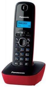 Panasonic KX-TG1611SPR - Teléfono Fijo Inalámbrico, Negro/Rojo