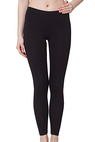 Damen Leggings Baumwolle Schwarz-S