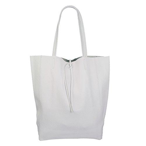 Damen Echtleder Shopper mit Innentasche in vielen Farben Schultertasche Henkeltasche (Weiß)