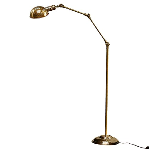 Loberon Stehlampe Tulsa, Messing, H/Ø 171/25 cm, messing, E27, max. 40 Watt, A++ bis E - Messing Antik Stehlampe