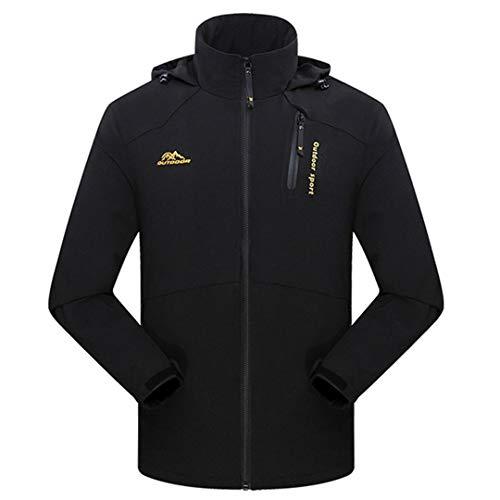 TH&Meoostny Herren Frühjahr Jacken Outwear Soft Shell Kausalen Kapuzenmantel Männer Wasserdichter Atmungsaktiver Mantel Black 5XL