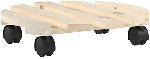 Relaxdays Pflanzenroller 3er Set, Rund, Aus Holz, Bis 30 kg, Für alle Böden, HBT: ca. 7,5 x 33 x 33 cm, natur