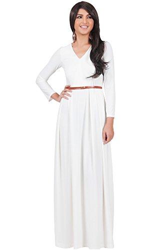 KOH KOH® Plus Size Damen Langarm Maxikleid Elegant Abendkleid V-Ausschnitt, Farbe Elfenbein Weiß, Größe 3XL / 3X Large (Engagement Fünf Kostüm Jahres)