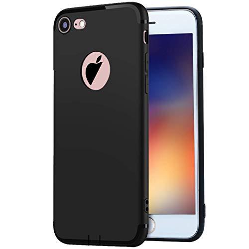 MADIBA Hülle kompatibel mit iPhone 8 / iPhone 7 Schwarz Silikon Case Slim Black Design (Ultra Dünn), Bumper Cover Premium Handyhülle Black Premium Silikon Cover