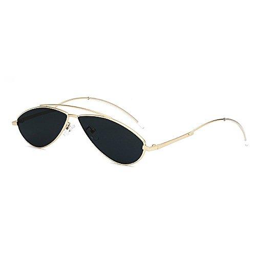 GZW001 Aviator Sonnenbrille für den Mann mit UV400-Schutzrahmen aus Metall (Color : Yellow)