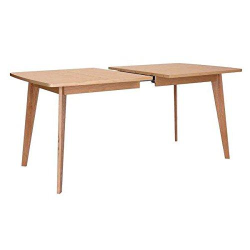 Table KENSAY avec ou sans rallonges, inspiration nordique de grande qualité - placage chêne certifié FSC et chêne massif pour la structure - Table avec rallonge - 160 à 200 x 90 x 76 cm - 6 à 8 personnes