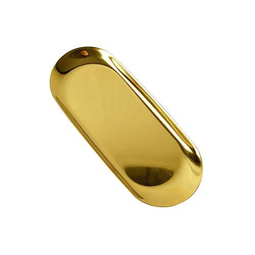 CAheadY Mini Metallschmuck Speicherplatte Tray Organizer Home Office Tischdekoration Golden S -