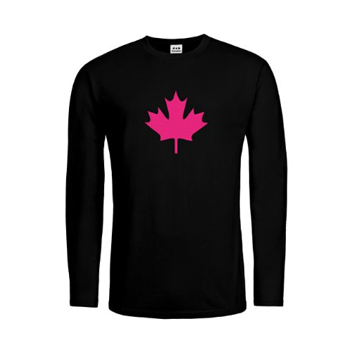 dress-puntos Kids Kinder Langarm T-Shirt Kanada Ahorn 20drpt15-ktls00033-50 Textil black / Motiv neonpink Gr. 116