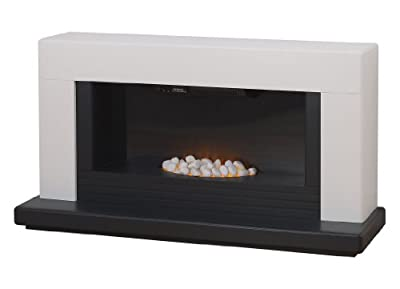 Adam Carrera White and Black Electric Fireplace Suite, 2000 Watt