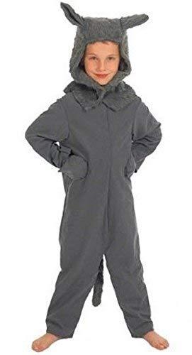 Fancy Me Mädchen Jungen Kinder Kinder Großer Böser Wolf Büchertag Halloween Kostüm Kleid Outfit 4 bis 10 Jahre - grau, 8-10 Years (140cms)