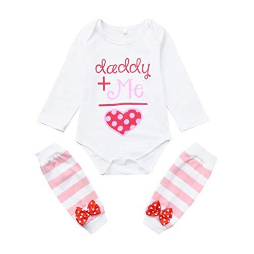 Bogen Gestreifte Strümpfe (erthome Kinder Baby Mädchen Brief Print Strampler Bogen gestreifte Strümpfe Valentinstag Outfits Set (6-12 Monate, Rosa))