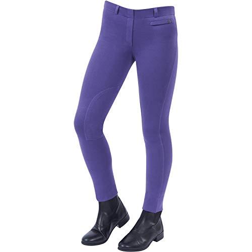 Dublin Childs Supa Fit Pull On Knee Patch Jodhpurs 23 inch Purple Fit Breeches