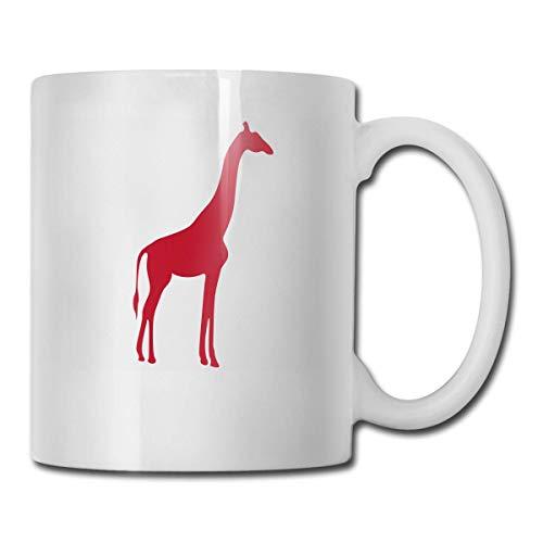 Daawqee Tazas Coffee Mug Giraffe Red Mug Funny Ceramic Cup for Coffee and Tea with Handle, White