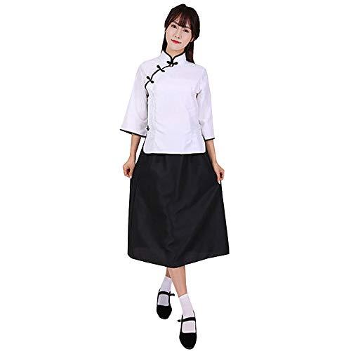 XFentech Retro Kostüm der Republik China - Retro Stil Mädchen Abschlussklasse Schießen Kleidung,Weiß Top+Mittlerer Rock,EU S=Tag ()