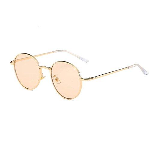 Damen Runde Sonnenbrille Rosennie Klassische Männer und Frauen Modelle retro flacher Spiegel Männer Klare Linse Gläser Metall Brillengestell Myopie Brillen Fashion Candy Colored Glasses (Gelb) - Klar 2.0 Objektiv