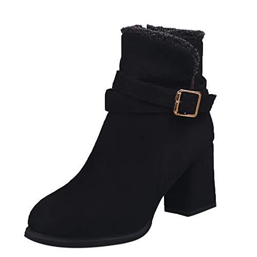 (Blockabsatz Stiefel Damen,Elecenty Frauen Kurzschaft Freizeitschuhe Boots High Heels Stiefeletten Party Schuhe Elegante Winterstiefel Schneestiefel Winterschuhe)
