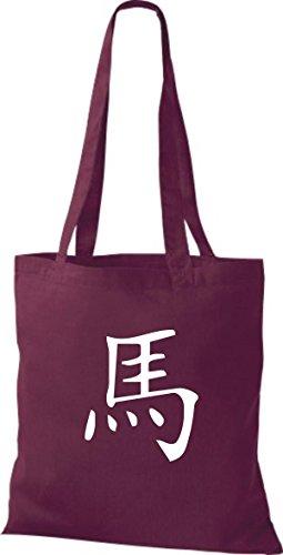 ShirtInStyle Stoffbeutel Chinesische Schriftzeichen Pferd Baumwolltasche Beutel, diverse Farbe burgundy