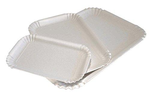 Plateaux de carton blanc pour pâtisserie – affutage de kg. 10 – Plateau rectangulaire à usage unique utilisable également pour servir à gâteaux, pâtisseries, gâteaux, pizzette au trancio et aliments cuits cm. 26,5x17 Bianco