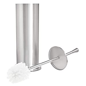 AmazonBasics Brushed Steel Bathroom Accessory Collection - Toilet Brush Holder, Large