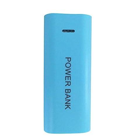 bescita portable 5600mAh 2x 18650Batterie Chargeur USB Power Bank Coque DIY Boîte pour téléphone portable, pas de piles incluses, bleu