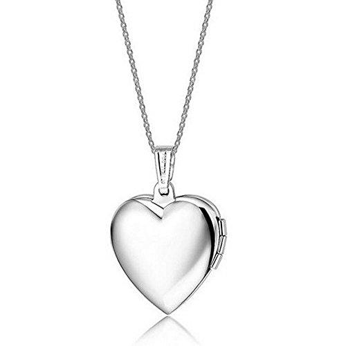 Belons Silberfarben Blau/Rosa Titanstahl Epoxy Foto Medaillon Amulett Öffenbar Herz Anhänger Halskette Kette mit Anhänger Herzkette (Rosa)