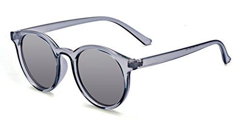 ALWAYSUV Retro Horn Umrandeten Runde Sonnenbrille UV400 Schutzbrille Mode Brillenfassung