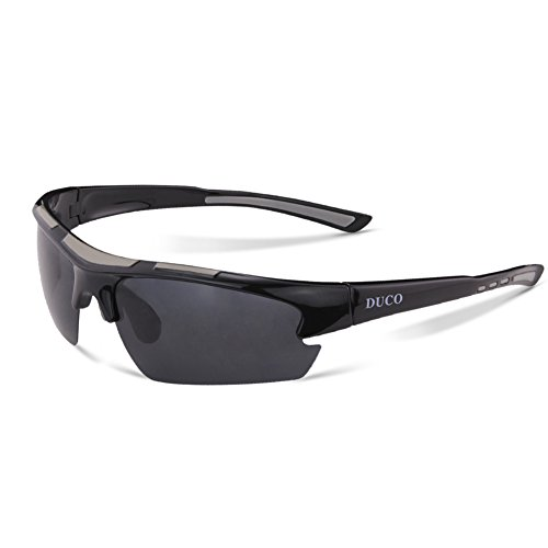 DUCO Polarized Designer Fashion Sports Sunglasses for Cycling Baseball Fishing Golf TR90 Superlight Frame 6200 Black Frame Gray Lens