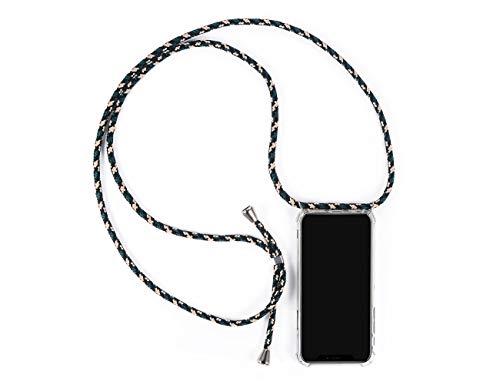 LUZAL Handyhülle mit Band zum Umhängen kompatibel für iPhone X/XS / 10 - Mit Band Schutzhülle zum Umhängen Urlaubszubehör (iPhone X/XS / 10, grün-Camouflage-Silber) 10 Band