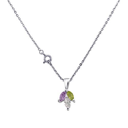 Orchid Jewelry Geburtsstein Februar für Damen, Amethyst, Zirkonia, Peridot Amethyst, Amethyst Anhänger und Kette (0,78 Karat) - Ring, Geburtsstein Halskette, Charms