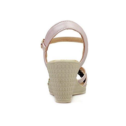 VogueZone009 Damen Schnalle Mittler Absatz Pu Leder Gemischte Farbe Keilsandale Mit Plateau Pink