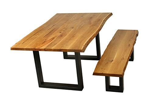 Ambientehome Baumtisch Baumkantentisch Eiche geölt Live Edge ca. 200 x 100 cm Esszimmertisch Massivholztisch Esstisch Baumkante