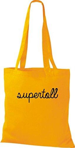 ShirtInStyle Stoffbeutel, Baumwolltasche, Shopper lustiger Typo Spruch supertoll goldgelb