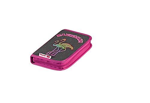 Step by Step Hama Federmäppchen gefüllt Modell: Flamingo Farbe: Rosa / Pink / Grau Glitzer mit Flamingos als Abbildung. Federmäppchen