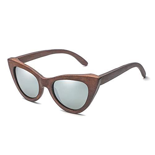 JFY-SUNGLASSES-0816 Sonnenbrillen Die Bambus-Brille der Cat Eye-Bambus-Sonnenbrille ist aus Holz und hat eine hölzerne Persönlichkeit JFYCUICAN (Color : Silber, Size : Kostenlos)