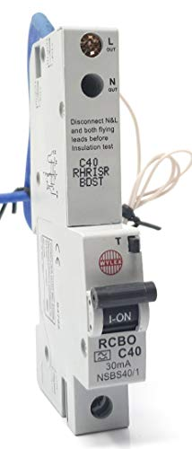 Pole 40 Amp (Wylex 1+N Pole Typ C Fehlerstromschutzschalter mit Überlastschutz, 40 A, 6 kA)