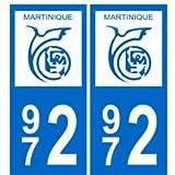 Autocollant plaque immatriculation auto département 972 Martinique