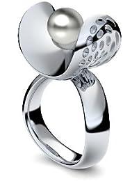 Golfschmuck Golf Schmuck Silber Ring Akoya Perle grau 925 + inkl. Luxusetui + Akoya Perle grau Ring Silber Perlenring Silber (Silber 925) - Pearl Symbiosis Amoonic AM253 SS925PGPE