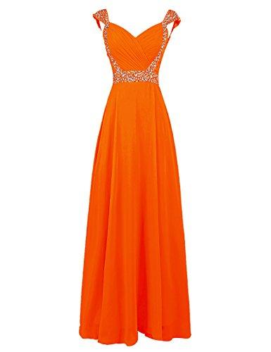 Dresstells Damen Bodenlang Abendkleider Rücken Mit V-Ausschnitt Brautjungfernkleider Orange
