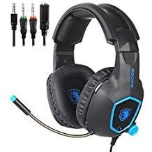 SADES Gaming-Headset für Xbox One, PS4, Nintendo Switch, Bass Surround Sound Over-Ear 3,5 mm Stereo Kopfhörer mit flexiblem Mikrofon und Lautstärkeregler für Laptop PC Mac iPad Smartphones